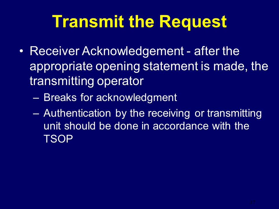 Transmit the Request Receiver Acknowledgement - after the appropriate opening statement is made, the transmitting operator.