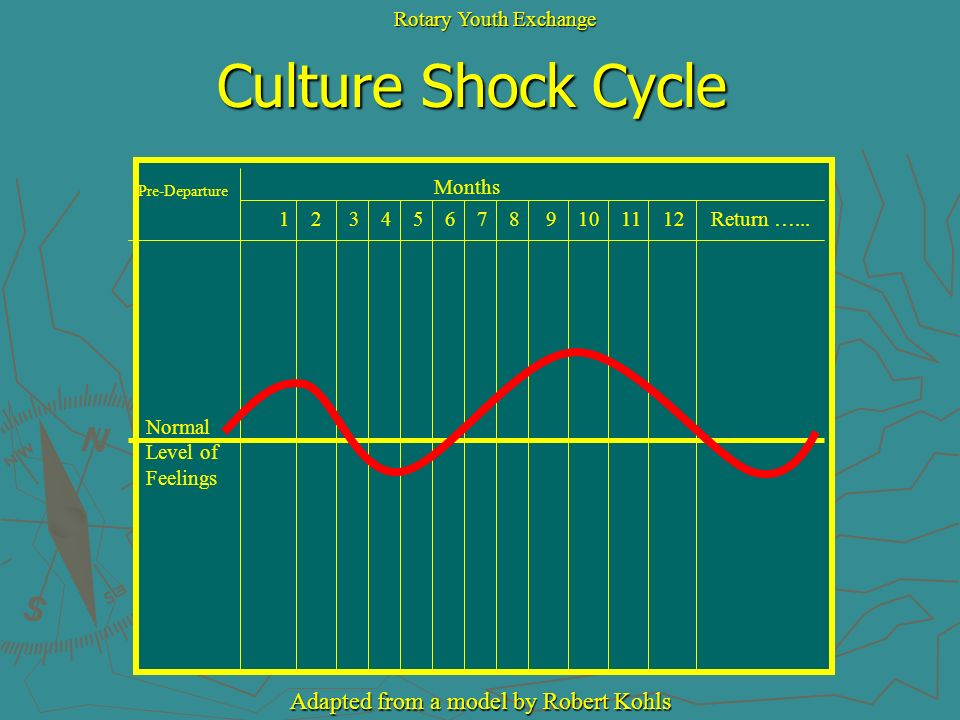 Culture Shock Cycle Adapted from a model by Robert Kohls