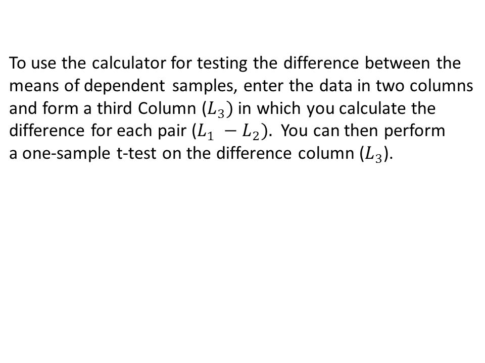 how to calculate sample mean of differences