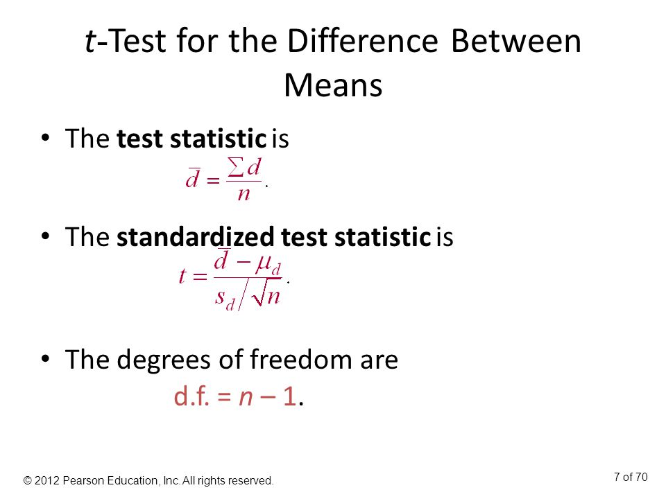 how to find degree of freedom using difference in means