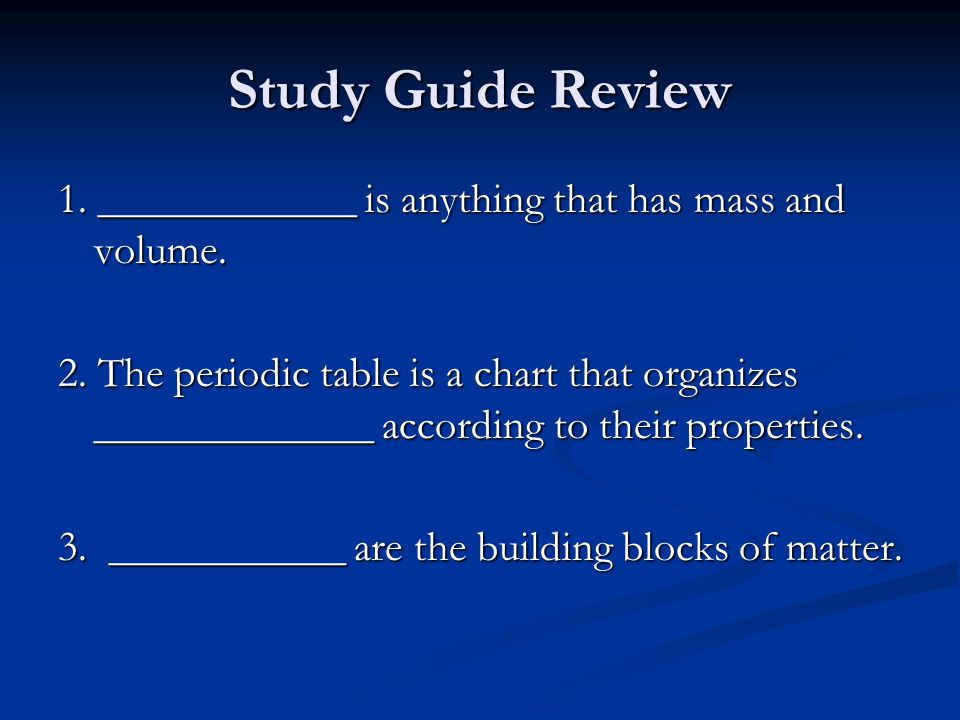 study guide review - Periodic Table Unit Test