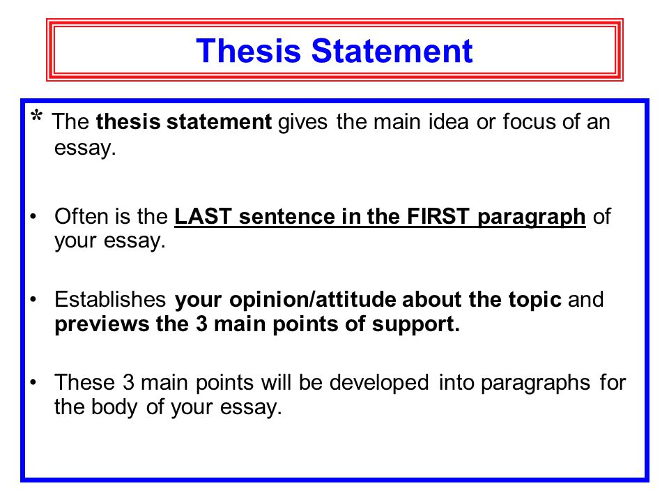 where is a thesis statement located in an article This resource provides tips for creating a thesis statement and examples of different types of thesis statements.