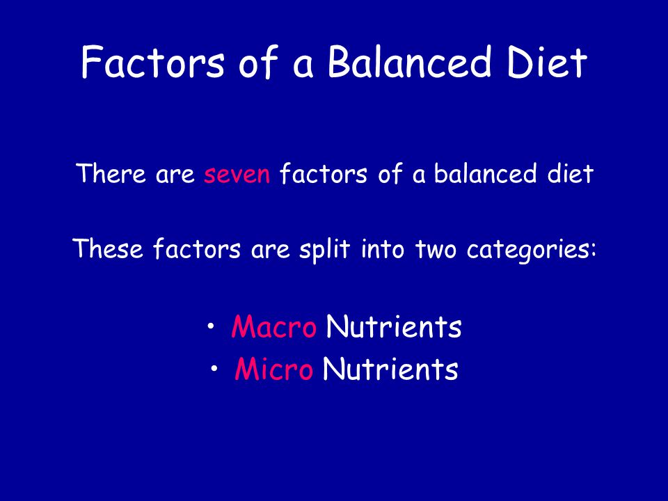 Factors of a Balanced Diet
