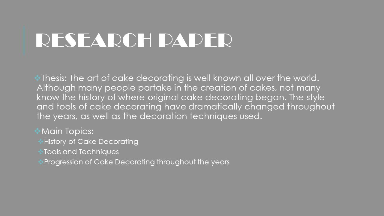 research document concerning cakes