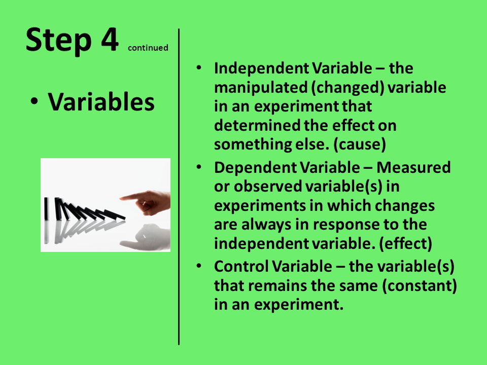 causality and response variable changes I want to test the causal relationship between a dependent and few independent financial variables the only way to adress causality is to perform a controlled experiment, where you know, a priory, that only the arbitrarily changed condition ( and nothing else) can be responsible for a possible change in the response.
