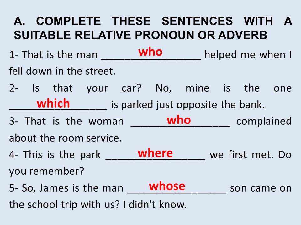 Relative Pronoun ESL Lesson English Test