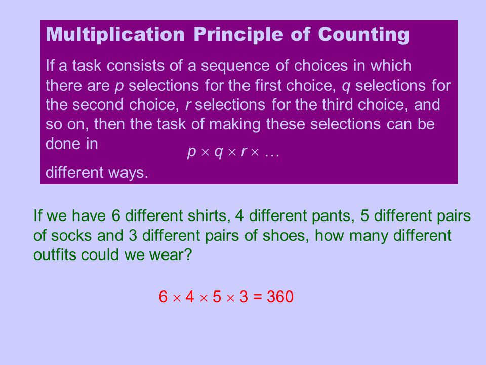 Multiplication Principle of Counting