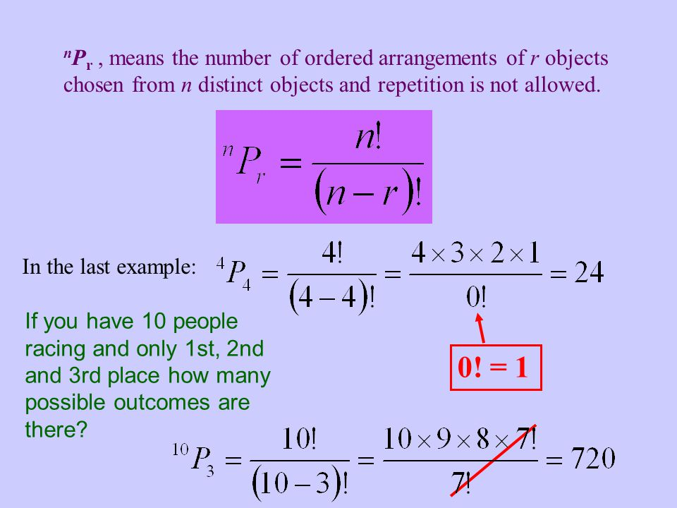 nPr , means the number of ordered arrangements of r objects chosen from n distinct objects and repetition is not allowed.