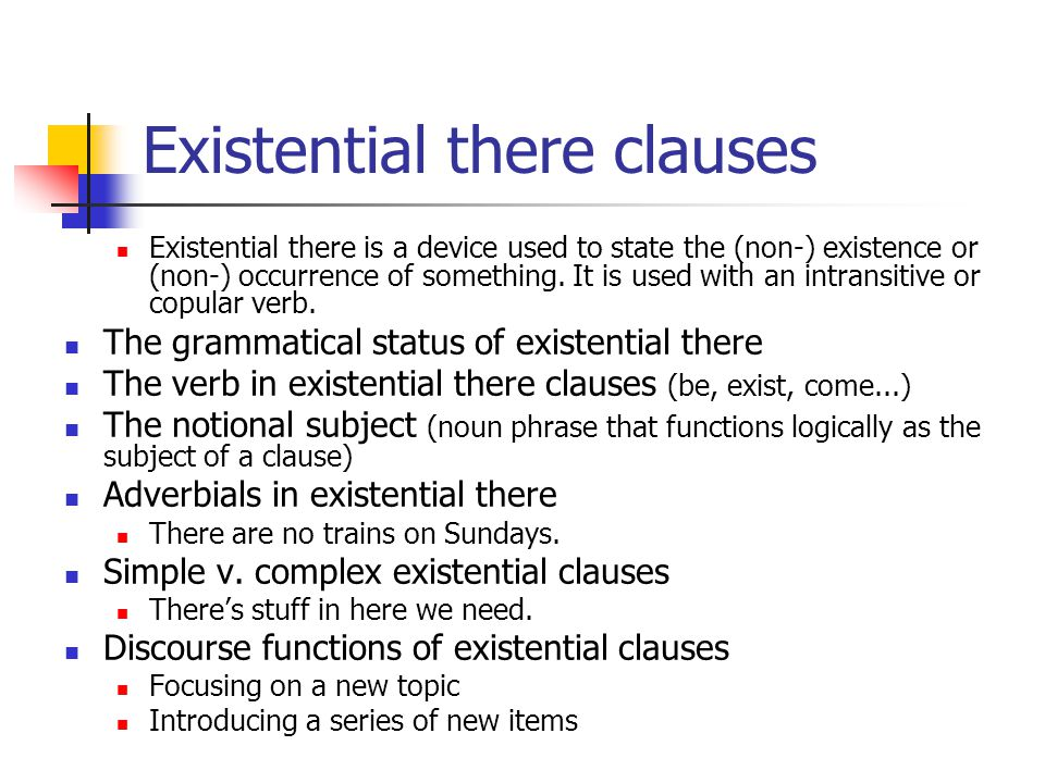 Existential there clauses