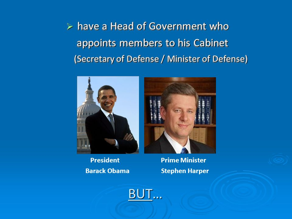 BUT… have a Head of Government who appoints members to his Cabinet