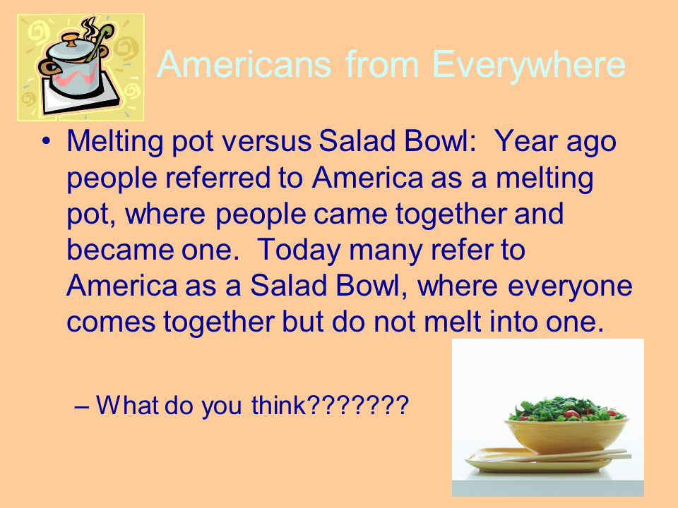 """american schools vs melting pot My mother immigrated from palestine to america 23 years ago, and i  school  house rock cartoon called """"the great american melting pot."""
