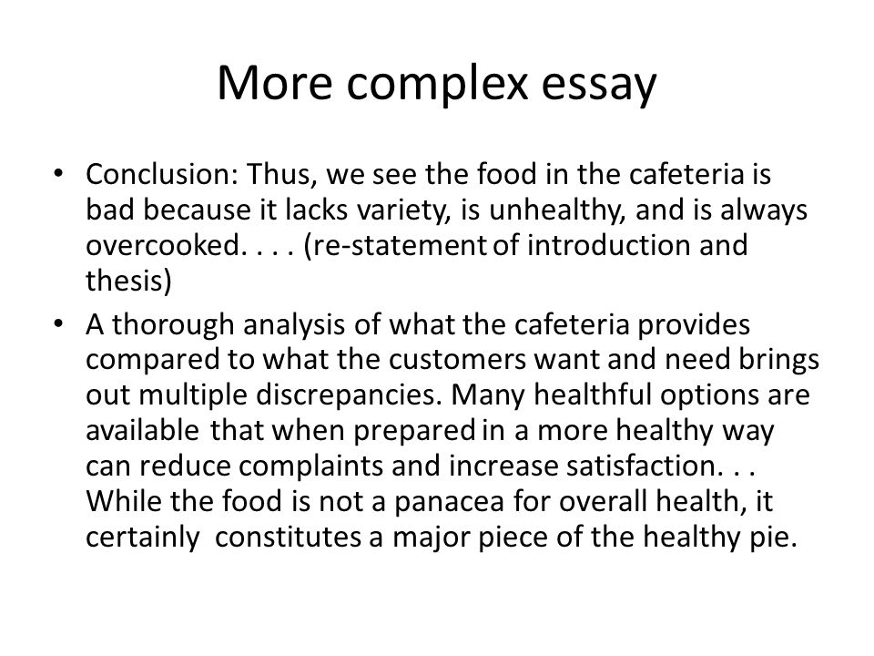 essay about cafeteria food Organic food is known to be healthier than conventional food according to recent research in the united states, organic food contains an average of 63% more calcium, 73% more iron, 125% more potassium, and 60% more zinc compared to conventional food products.