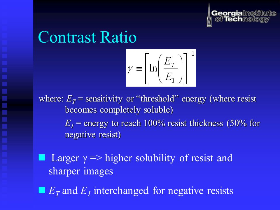 Contrast Ratio where: ET = sensitivity or threshold energy (where resist becomes completely soluble)