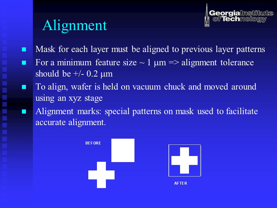 Alignment Mask for each layer must be aligned to previous layer patterns.