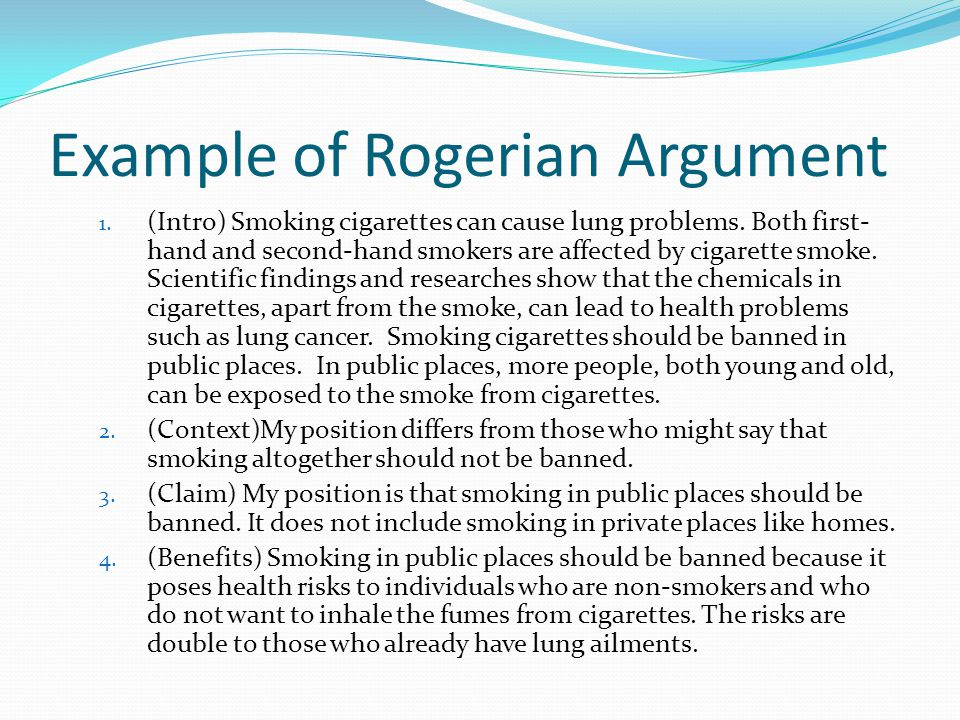rogerian argument research paper It isn't what you say but how you say it that makes rogerian style work research is  topics for rogerian  written argument and will be necessary in this paper.