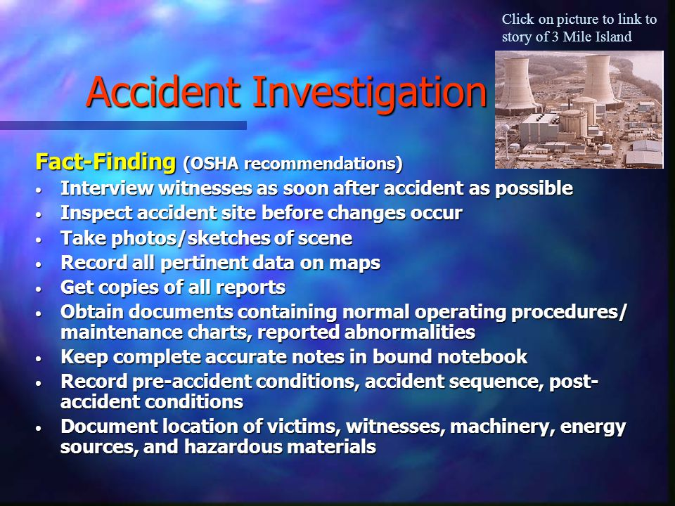 safety accidents and investigations be prepared for the unexpected Running head: article review article review: safety, accidents, and investigations: be prepared for the unexpected article summary in this article, the author has explained the importance of health and safety programs in the companies.