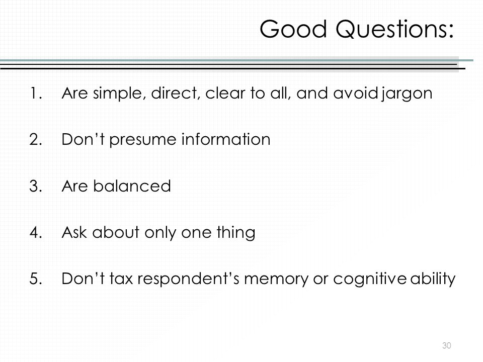 Good Questions: Are simple, direct, clear to all, and avoid jargon