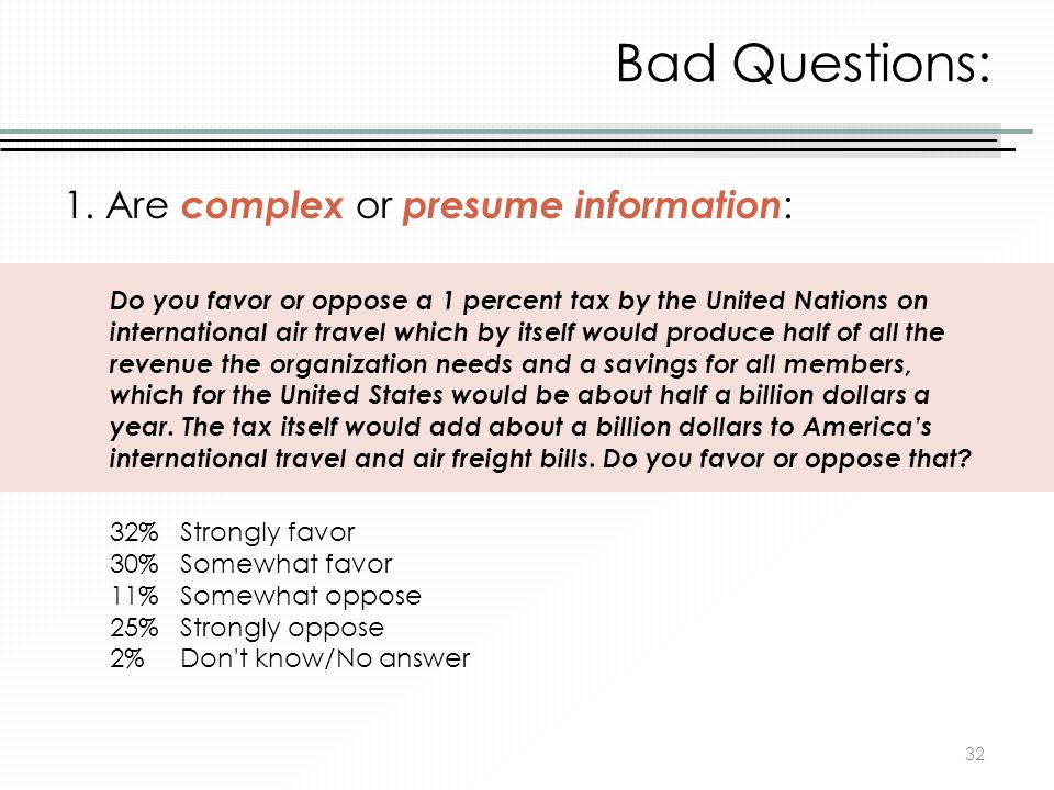 Bad Questions: 1. Are complex or presume information: