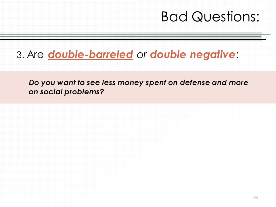 Bad Questions: 3. Are double-barreled or double negative: