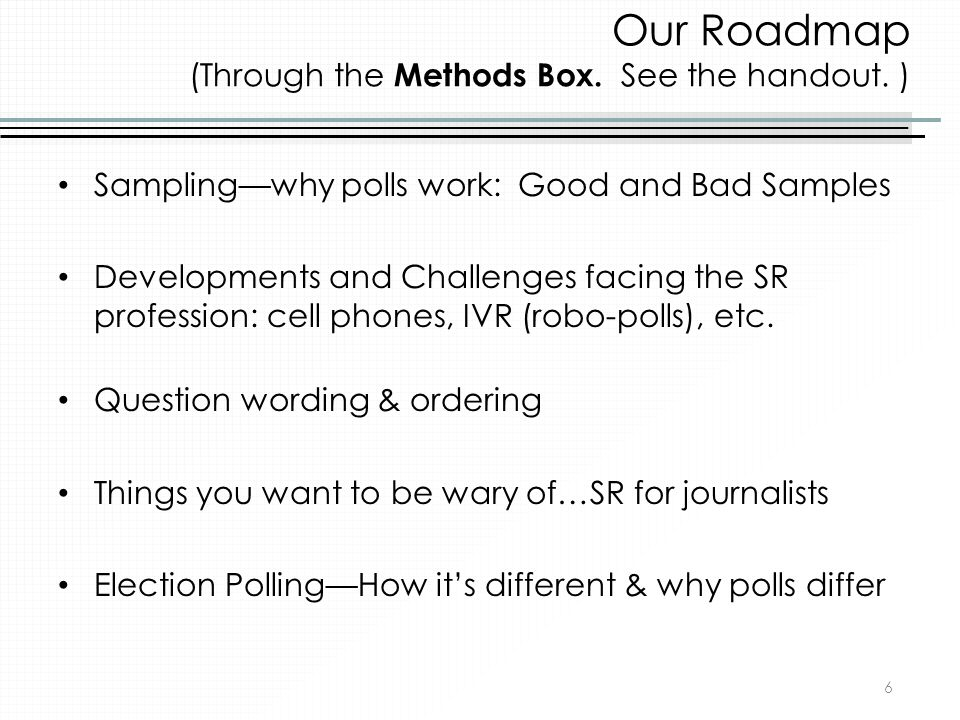 Our Roadmap (Through the Methods Box. See the handout. )