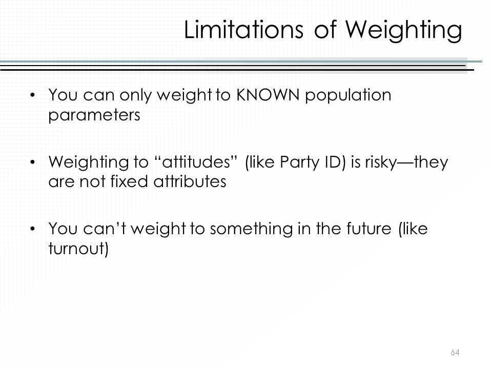 Limitations of Weighting