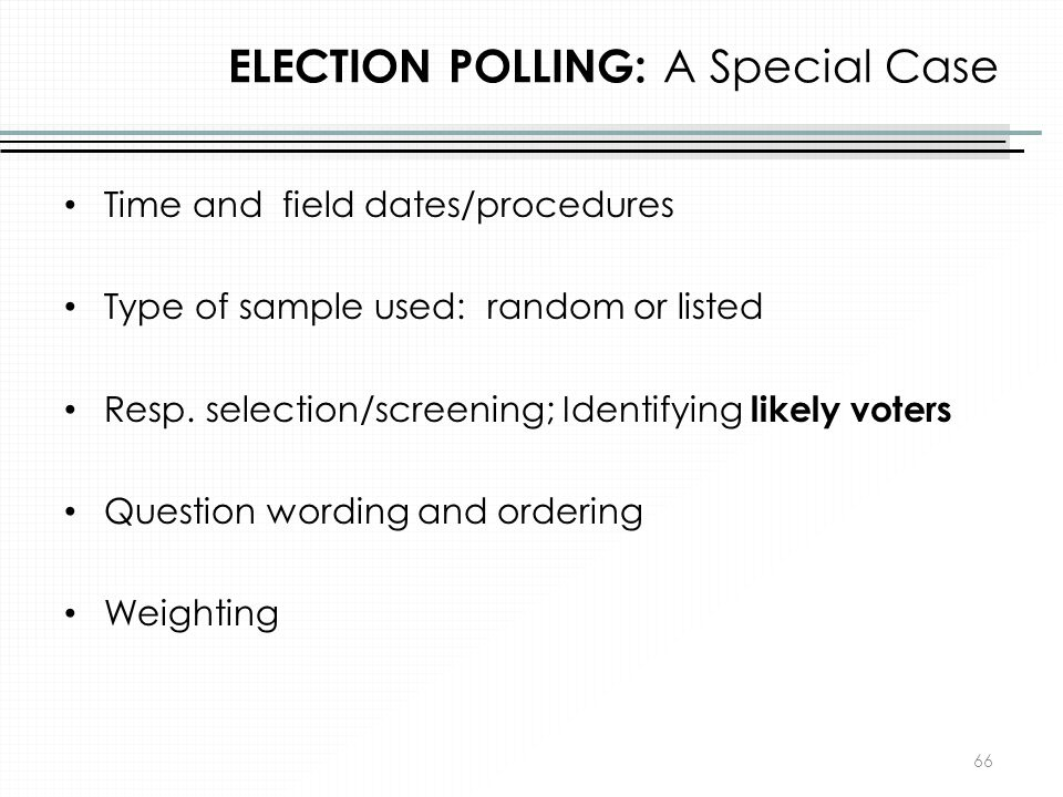 ELECTION POLLING: A Special Case
