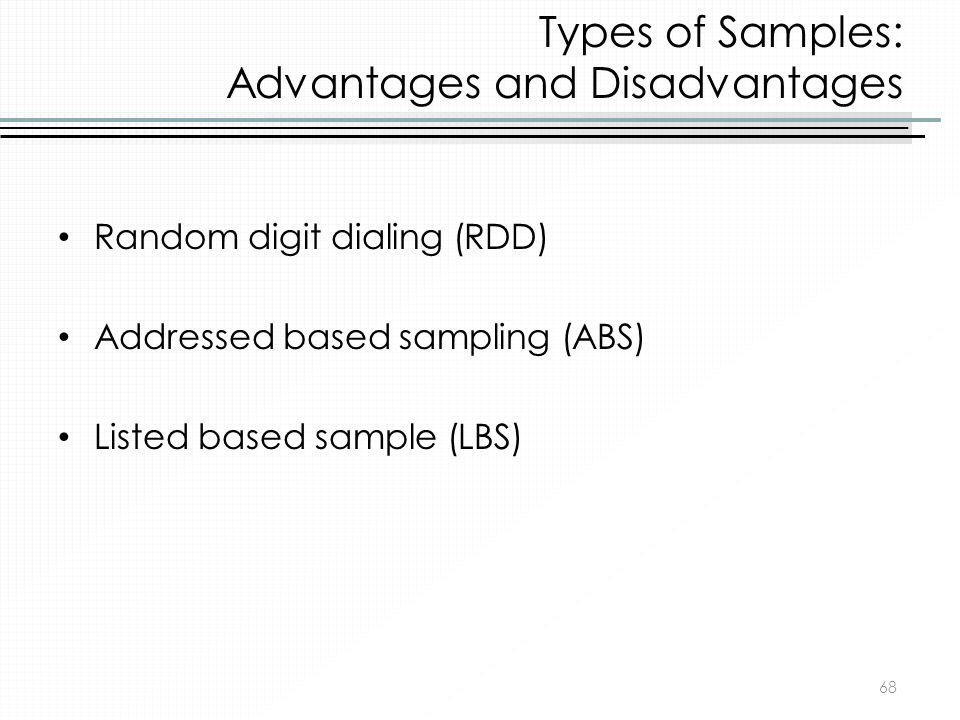 Types of Samples: Advantages and Disadvantages