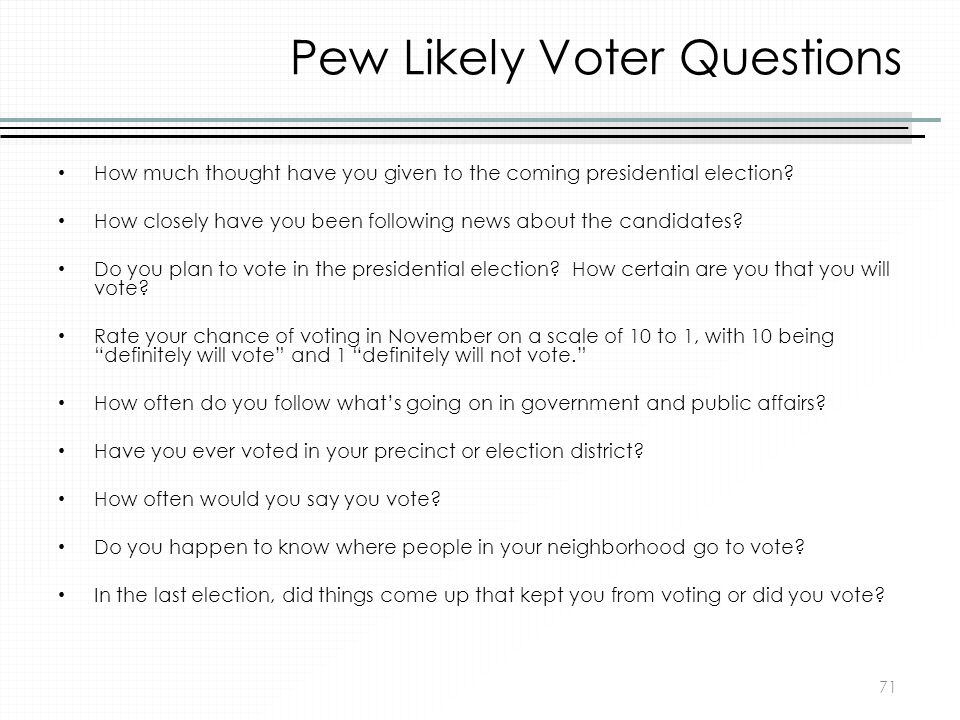 Pew Likely Voter Questions