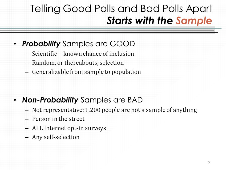 Telling Good Polls and Bad Polls Apart Starts with the Sample