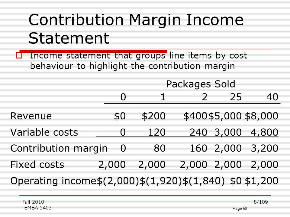 contribution margin income statement Contribution margin analysis is a measure of (which is also an example of what is called partial contribution margin - an income statement that references only.