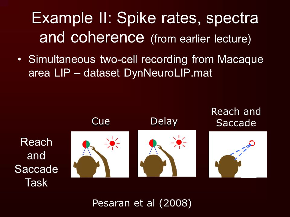 Example II: Spike rates, spectra and coherence (from earlier lecture)