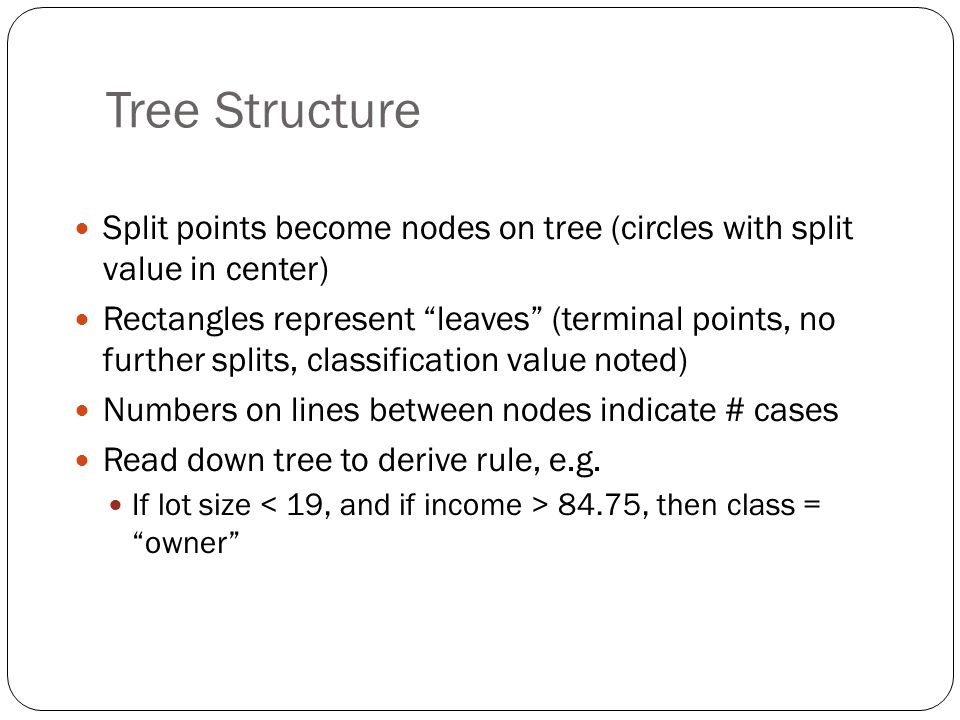 Tree Structure Split points become nodes on tree (circles with split value in center)