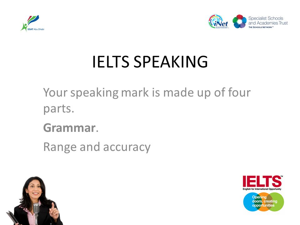 IELTS SPEAKING Your speaking mark is made up of four parts. Grammar.