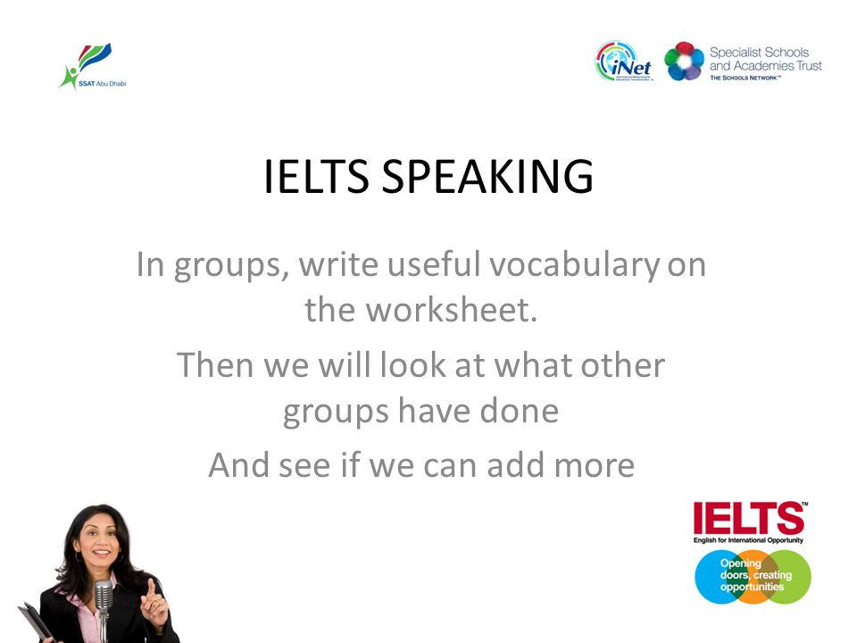 IELTS SPEAKING In groups, write useful vocabulary on the worksheet.