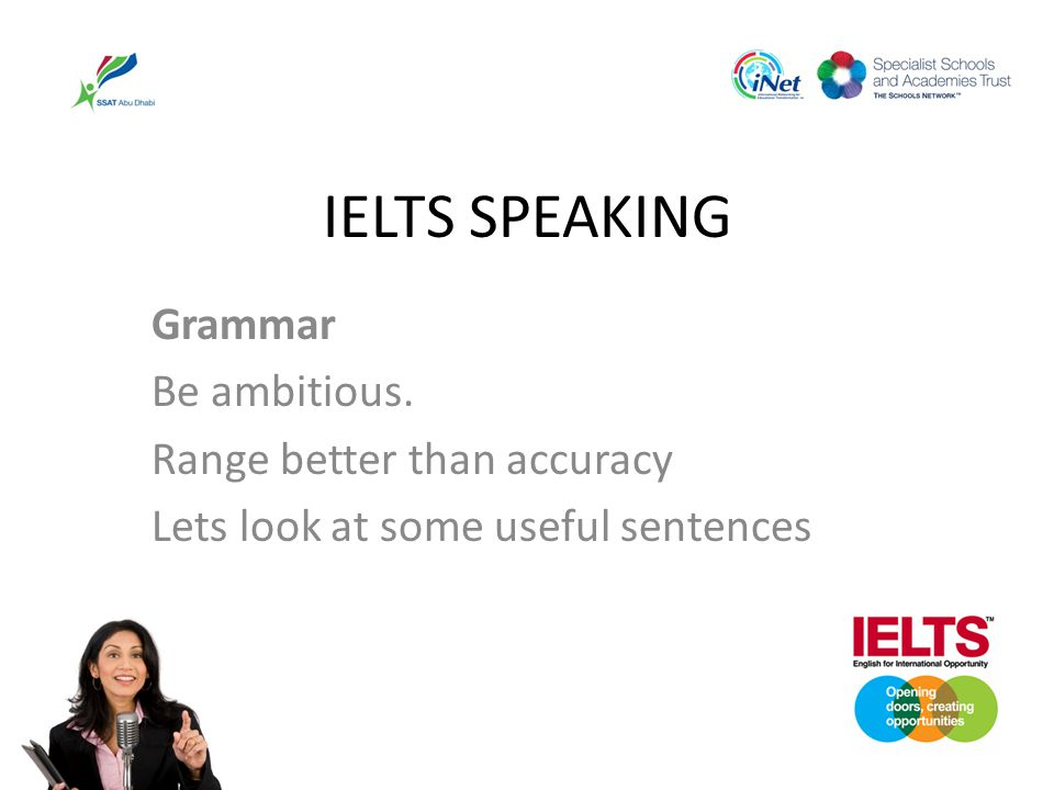 IELTS SPEAKING Grammar Be ambitious. Range better than accuracy