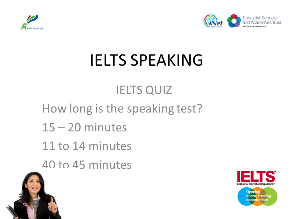 IELTS SPEAKING IELTS QUIZ How long is the speaking test