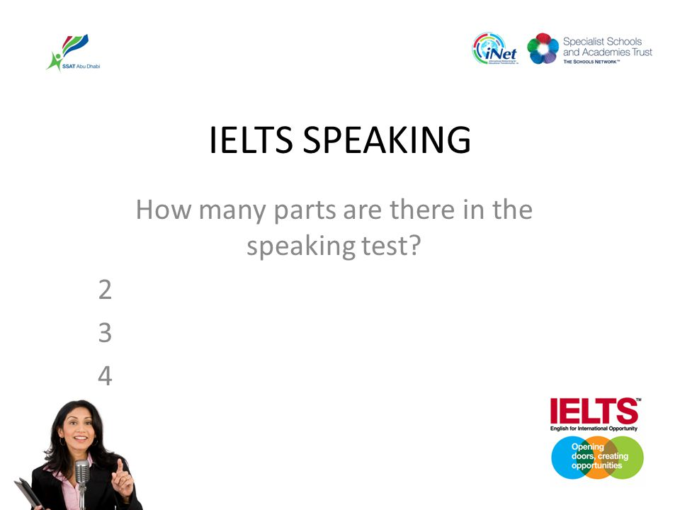 How many parts are there in the speaking test 2 3 4