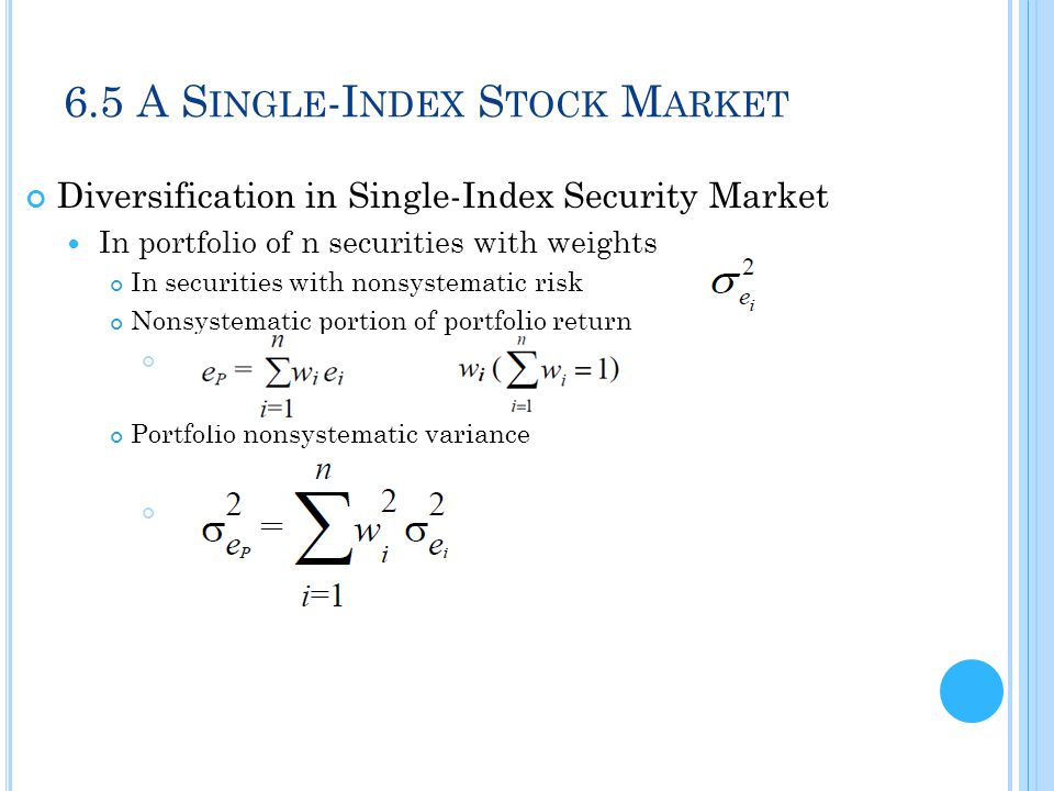 6.5 A Single-Index Stock Market
