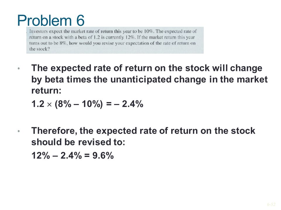 Problem 6 The expected rate of return on the stock will change by beta times the unanticipated change in the market return: