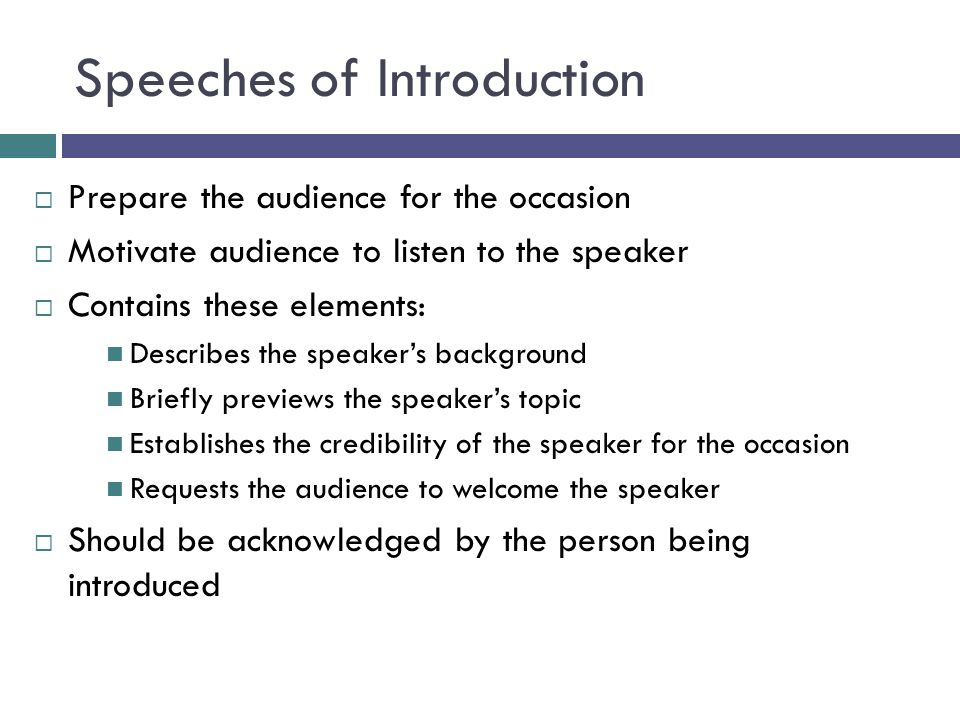 Speeches of Introduction