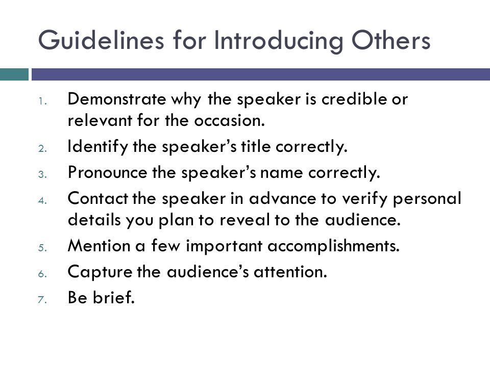 Guidelines for Introducing Others