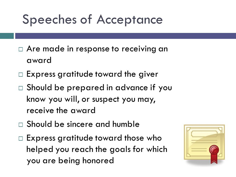 Speeches of Acceptance