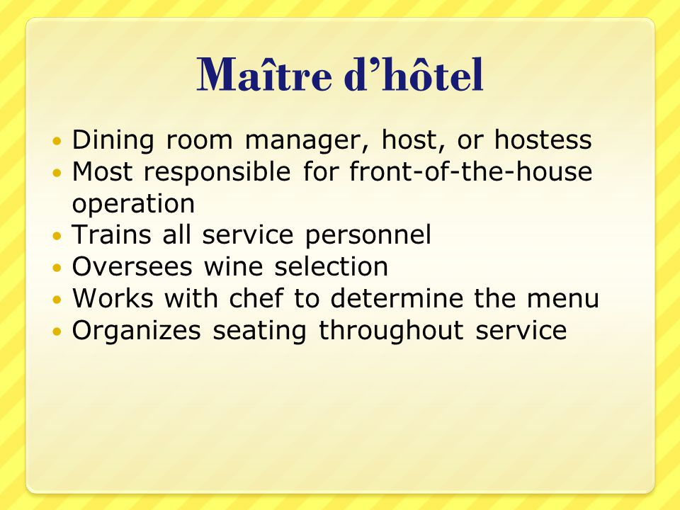 Maitre Dhotel Dining Room Manager Host Or Hostess