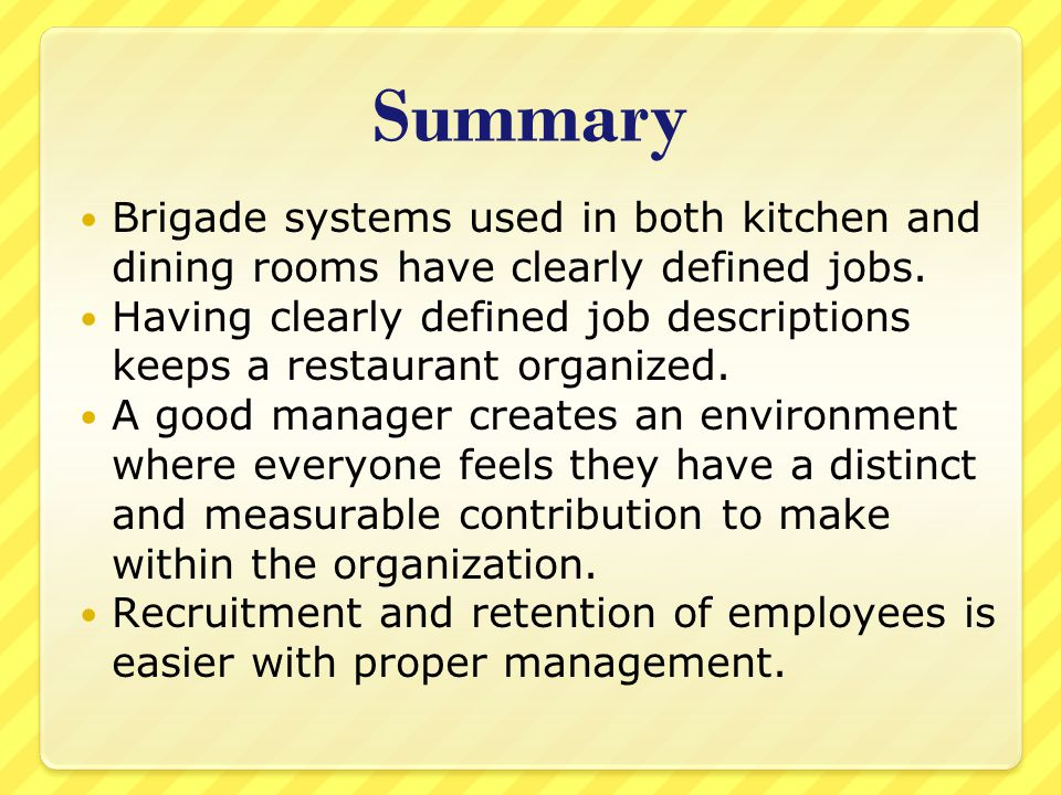 Kitchen brigade system ppt video online download for Dining room meaning in hindi