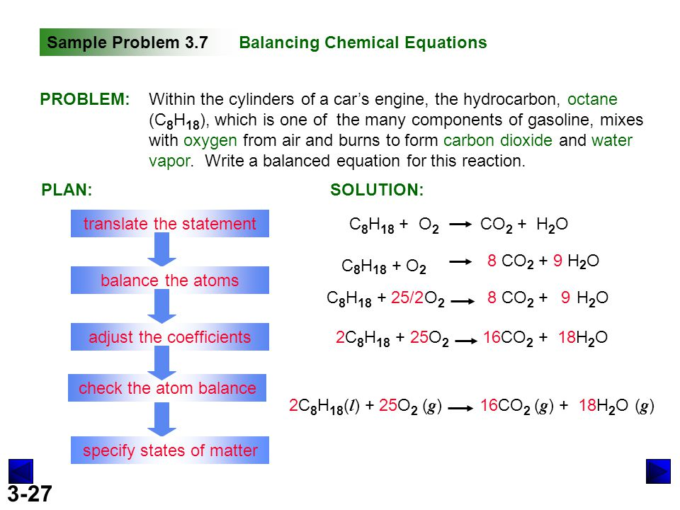 Write a balanced equation for the combustion of octane c8h18 with oxygen