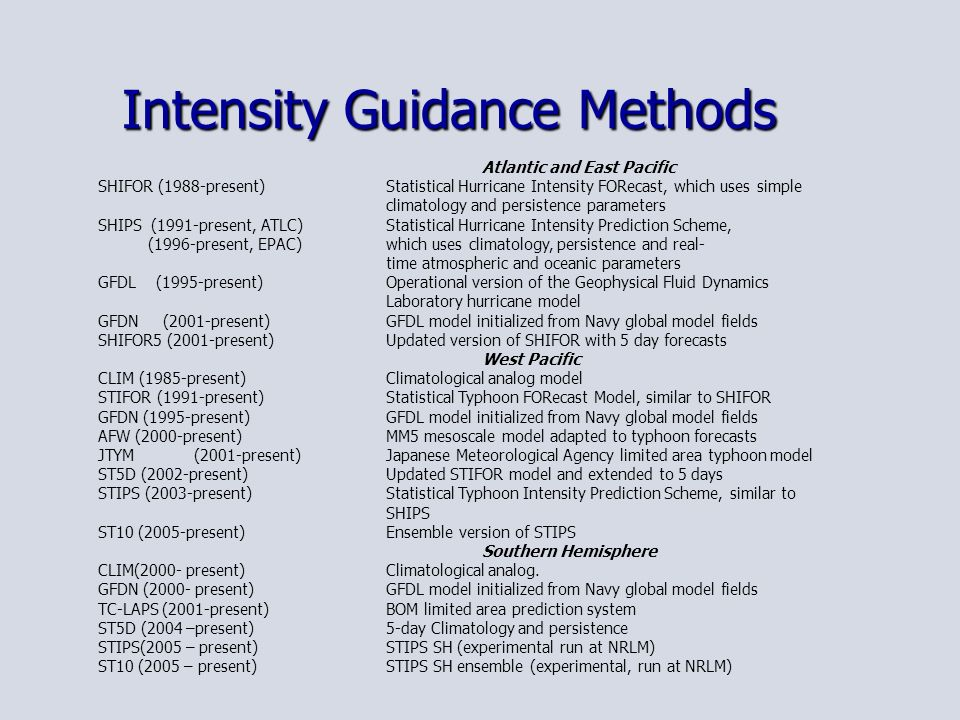 Intensity Guidance Methods