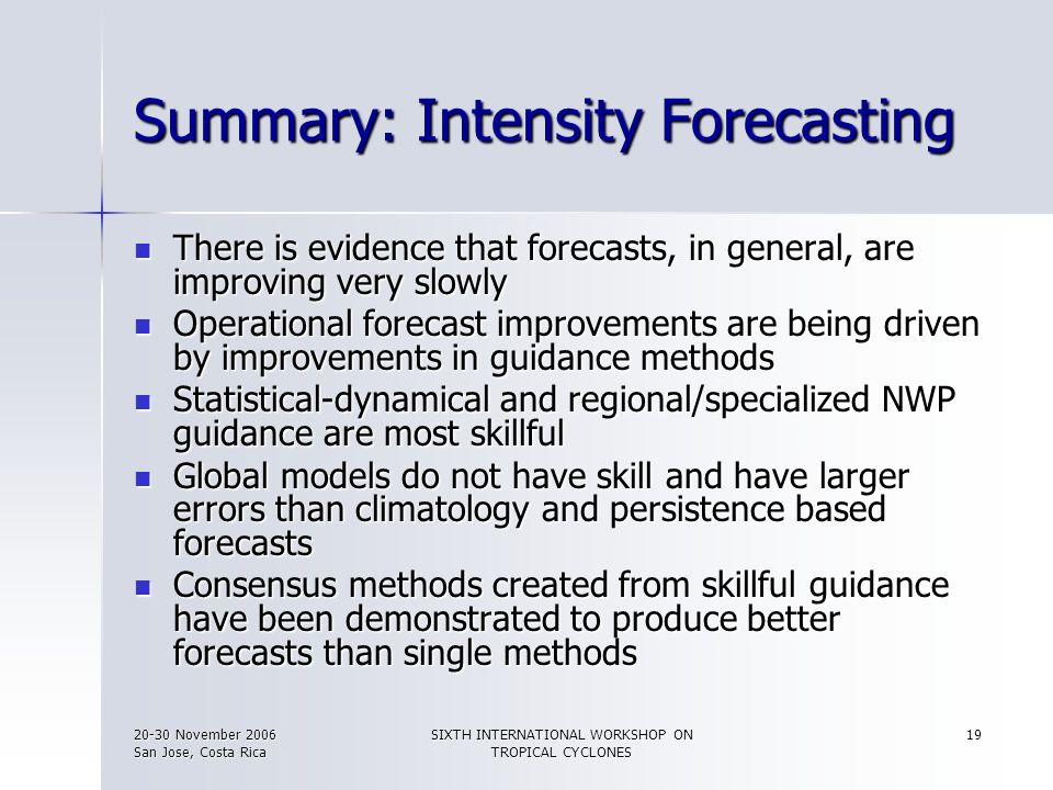 Summary: Intensity Forecasting