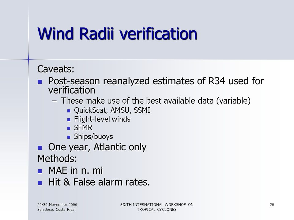 Wind Radii verification