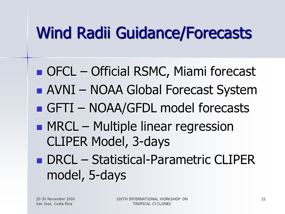 Wind Radii Guidance/Forecasts