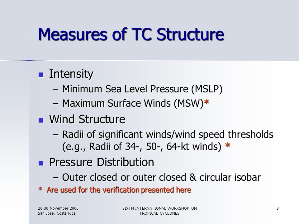 Measures of TC Structure